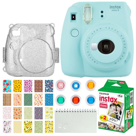 Fujifilm Instax Mini 9 Instant Camera (Ice Blue) + Fujifilm Instax Mini Twin Pack Instant Film (20 Exposures) + Glitter Hard Case + Colored Filters + Album (White) + Sticker Frames Nature Package
