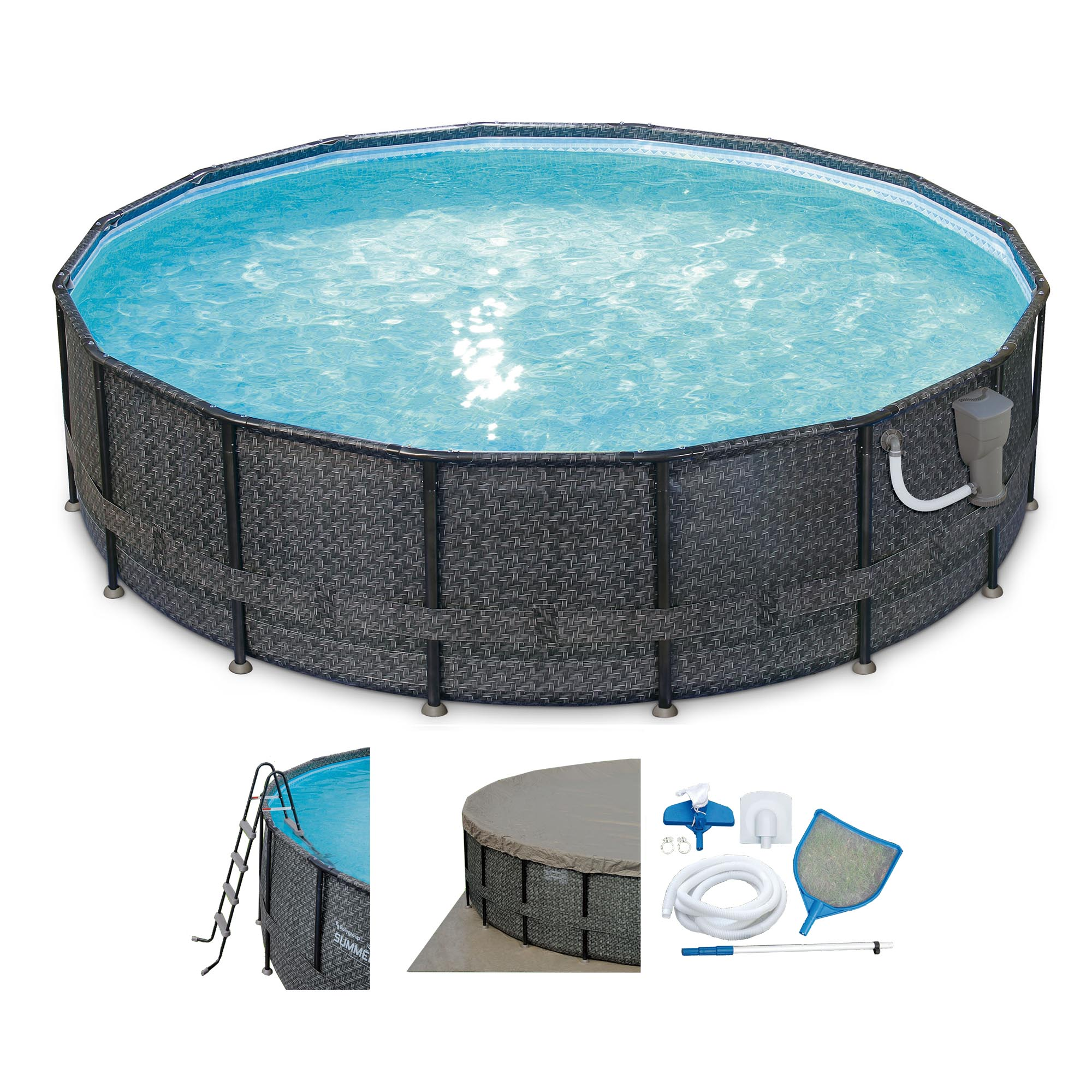 "Summer Waves Elite Wicker Print 16' x 48"" Above Ground Frame Pool Set w/ Pump"