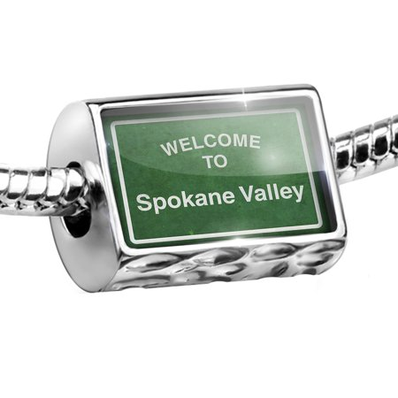 Bead Green Road Sign Welcome To Spokane Valley Charm Fits All European Bracelets