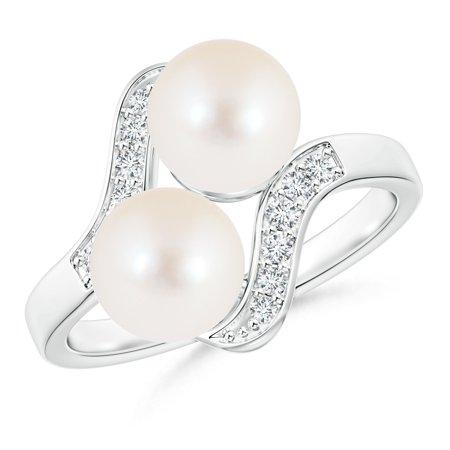 a2dc4b13b1e09f Angara - June Birthstone - Bypass Dual FreshWater Cultured Pearl Ring with Diamond  Accents in 14K White Gold (7mm Freshwater Cultured Pearl) - Walmart.com