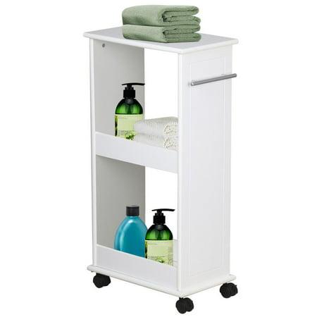 Yaheetech Slimline Rolling Bathroom Kitchen Organizer Narrow Storage Cart 2  Shelf Space Saver. Yaheetech Slimline Rolling Bathroom Kitchen Organizer Narrow