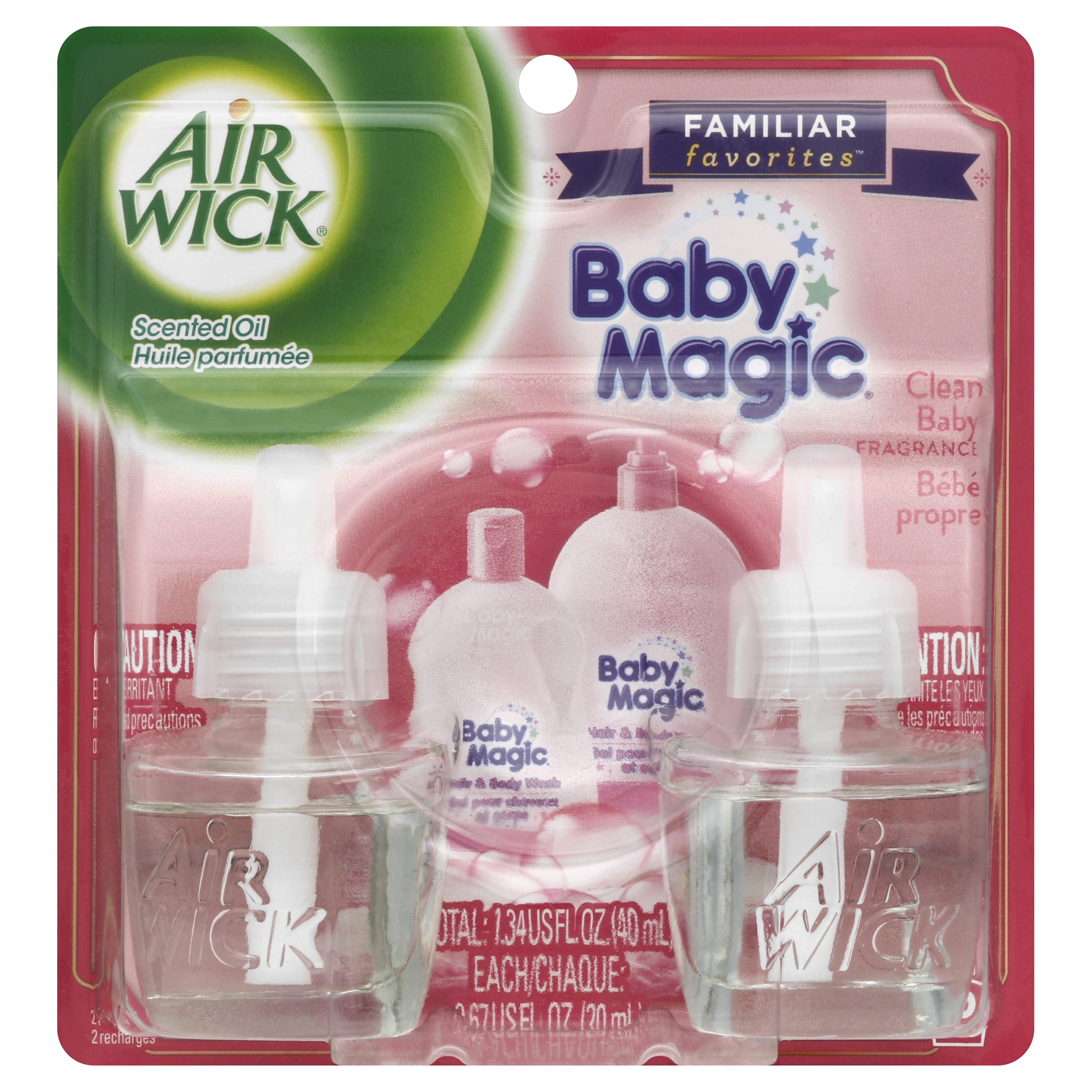 Air Wick Scented Oil Air Freshener, Familiar Favorites Collection, Baby Magic Scent, Twin Refills, 0.67 Ounce