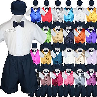 Boys Toddler Formal Vest Shorts Suits Satin Vest Navy Bow Tie Hat 5pc Set S-4T
