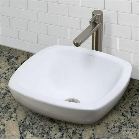 7.75 x 17.5 x 17.5 in. Square Semi-Recessed Vitreous China Bathroom Sink Semi Vitreous China