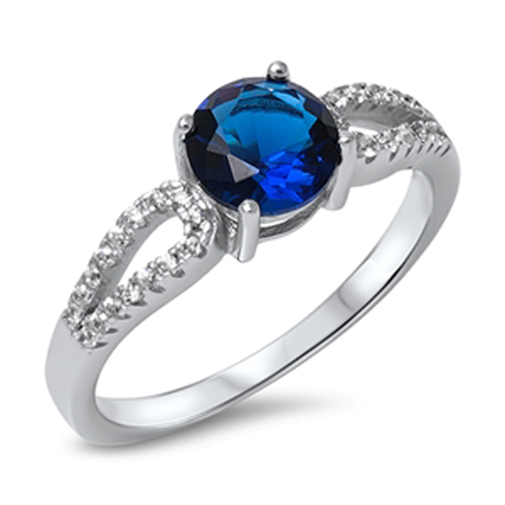 Women's Blue Simulated Sapphire Wedding Ring ( Sizes 5 6 7 8 9 10 ) New .925 Sterling Silver Band Rings by Sac Silver (Size 8)