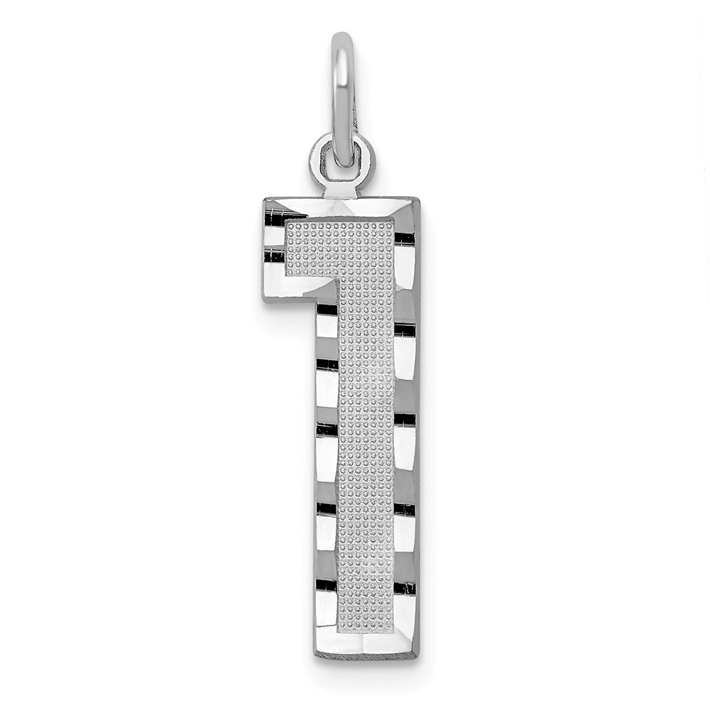 14k White Gold Casted Large D/C Number 1 Charm Pendant