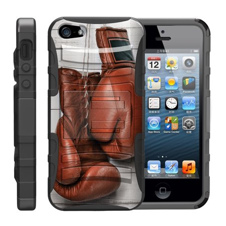 TurtleArmor ® | For Apple iPhone SE | iPhone 5 | iPhone 5s [Hyper Shock] Hybrid Dual Layer Armor Holster Belt Clip Case Kickstand - Boxing Gloves
