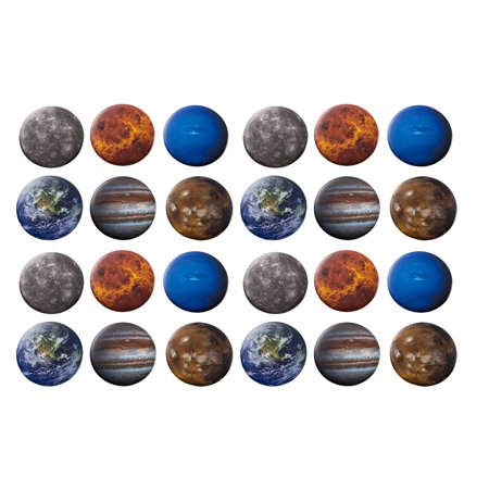 Pinback Buttons - 24-Pack Planets Round Button Pins in 6 Planetary Universe Designs, Mercury, Earth, Mars, Jupiter, Neptune, Venus, 2.25 Inches -