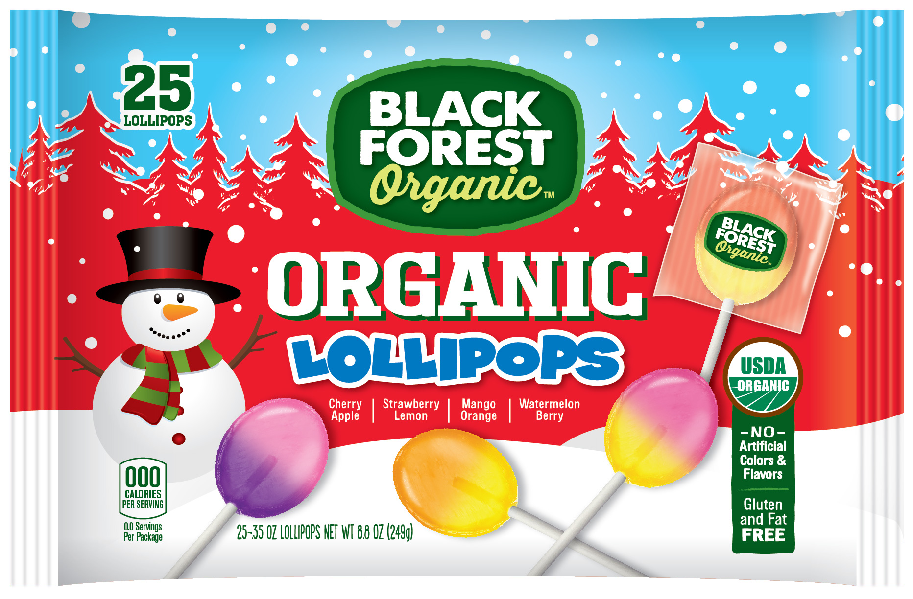Black Forest Organic Holiday Lollipops, 25 Count Bag by Ferrara Candy Company