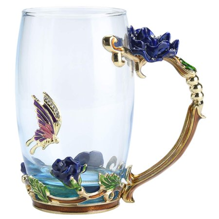 GLiving Tea Cup Coffee Mug Cups,  Ideal for Friend Wedding Anniversary Birthday Presents Glass Coffee Cups Tea Mugs