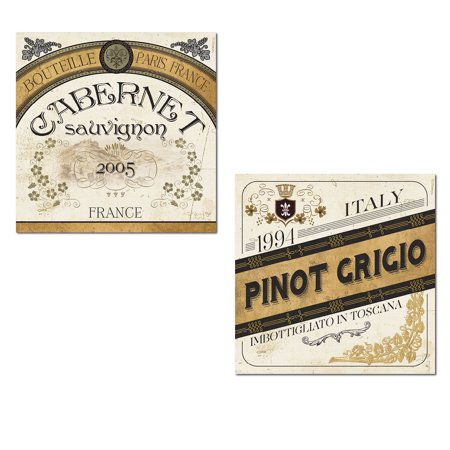 Beautiful Paris France Cabernet Sauvignon and Toscana Italy Pinot Grigio Wine Prints; Kitchen Decor by Pela Studio; Two 12x12in Paper Posters