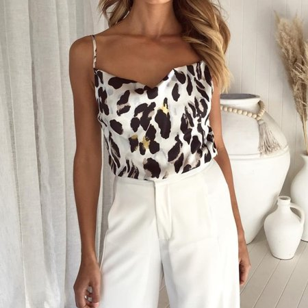 Women Strappy Tank Crop Tops Sleeveless Leopard Cami Bustier Vest Blouse T Shirt White