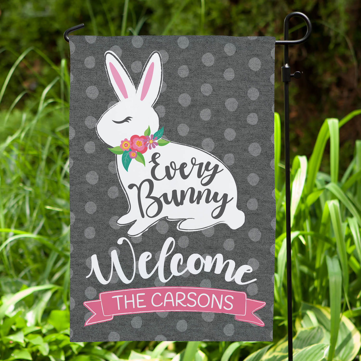 Every Bunny Welcome Personalized Garden Flag