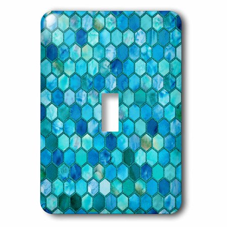 3dRose Trendy Teal Feminine Faux Glitter Honeycomb Hexagon Pattern - Single Toggle Switch
