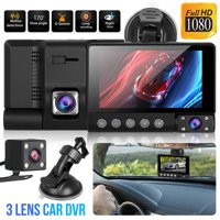 TSV Drive Recorder, 1080P Car DVR Dash Camera Front and Inside and Rear Backup Cam, Parking Monitoring, Infrared Night Vision, Motion Detection, G-Sensor and WDR