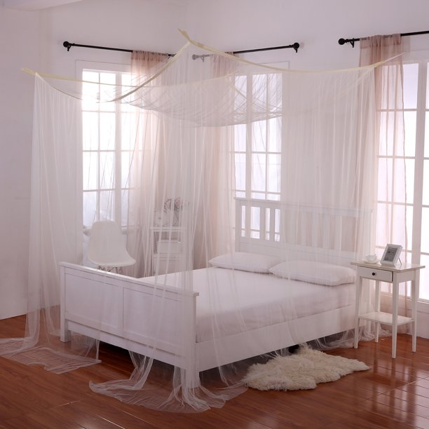 Ecru Off White Palace 4 Post Bed Sheer