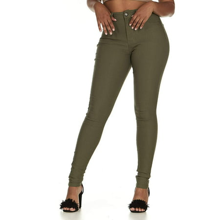 Cover Girl Women's Cute High Waisted Ultra Skinny Stretchy Olive Green Juniors Size 13