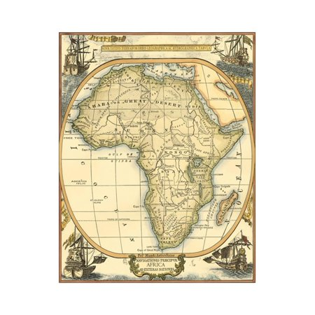 Small Nautical Map of Africa Print Wall Art By Vision - Small Gemstone Map