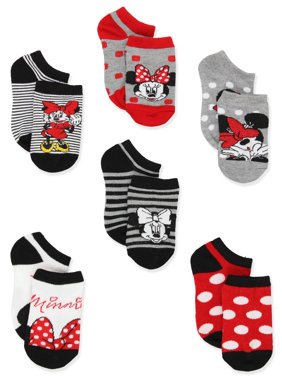 Minnie Mouse Polka Dots and Stripes Girls Toddler 6 pack No Show Socks MW400GNS