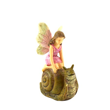 Miniature Fairy Girl Racing Snail Mini Garden Landscape Figurine Dollhouse - Snail Ornament