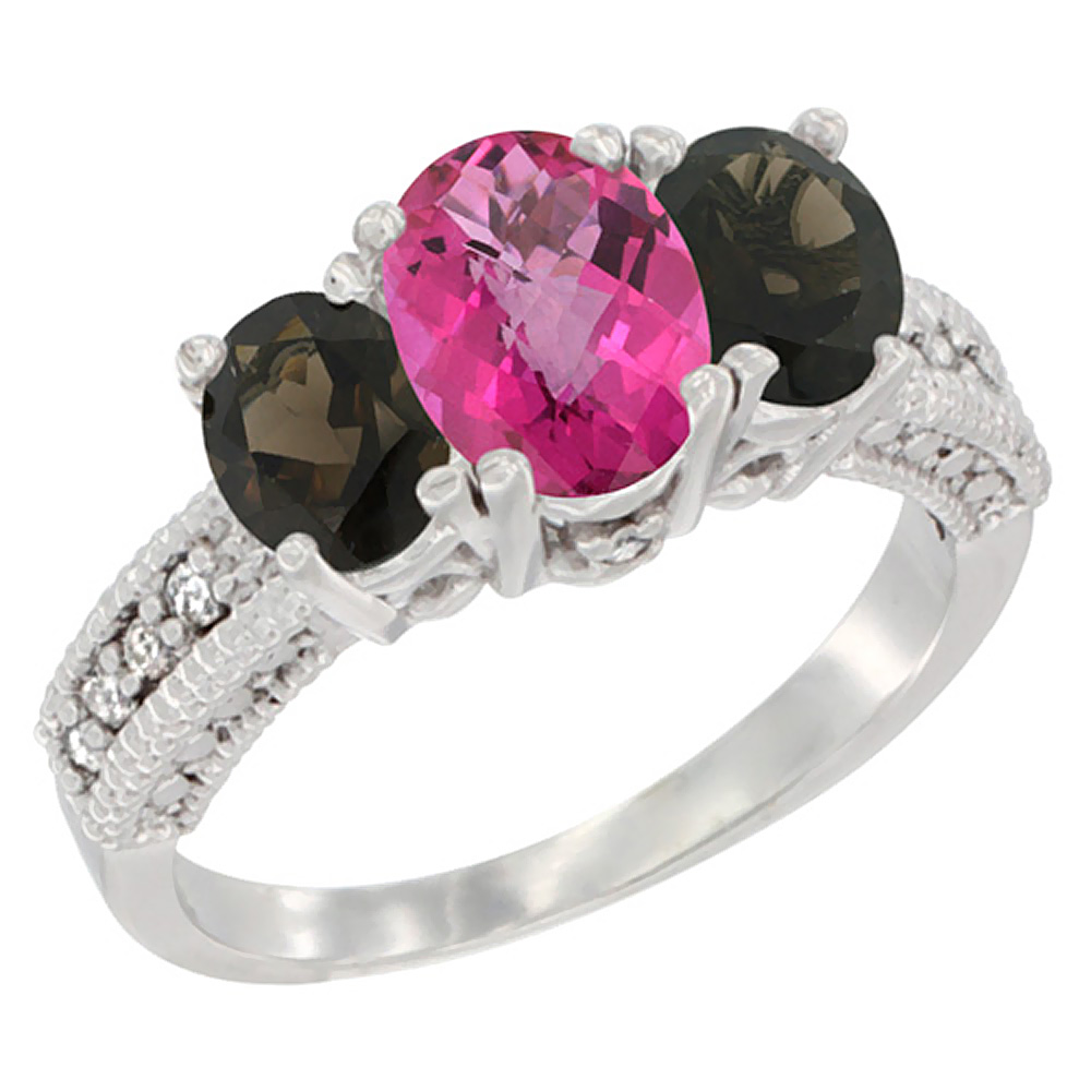 10K White Gold Diamond Natural Pink Topaz Ring Oval 3-stone with Smoky Topaz, sizes 5 10 by WorldJewels