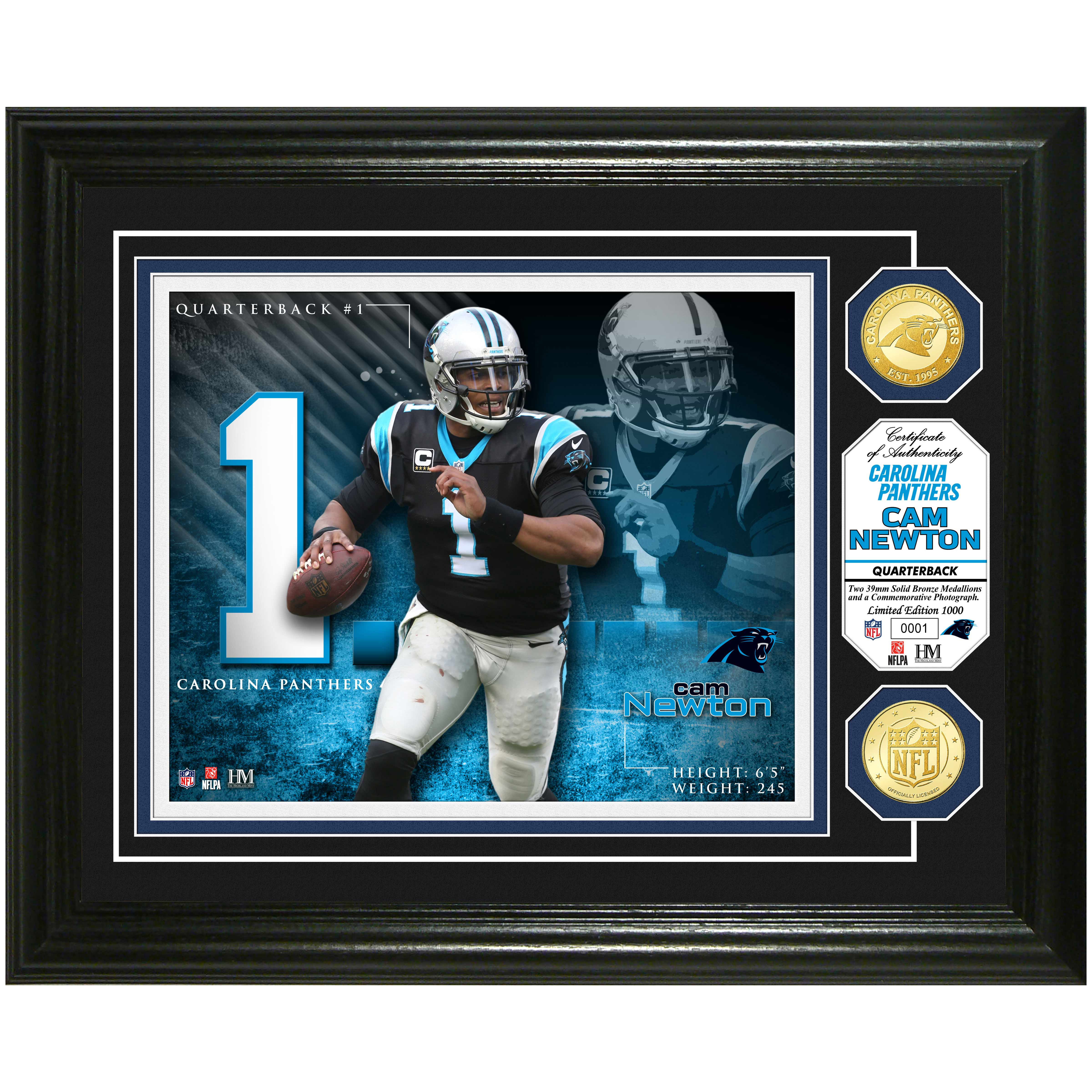 "Cam Newton Carolina Panthers Highland Mint 13"" x 16"" Player Photo Mint & Coin Set - No Size"