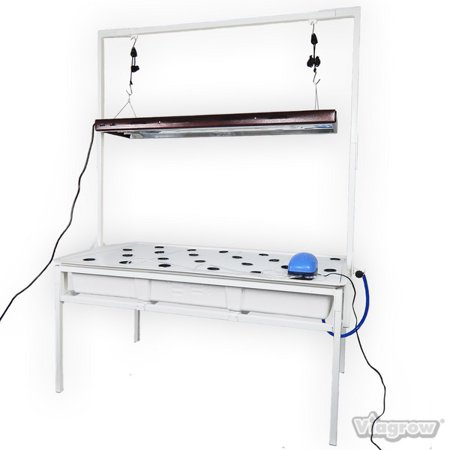 2 ft. x 4 ft. Complete Deep Water Culture System with Tray, Light Stand and T5 4 Lamp 4 ft. Fluorescent