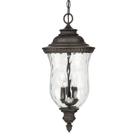 Castle Bronze Outdoor Hanging Lantern (Capital Lighting 9786OB Ashford - Three Light Outdoor Hanging Lantern, Old Bronze Finish with Hammered)
