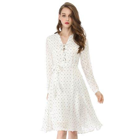 Unique Bargains Women's Dresses Elegant Star Lace Up Chiffon Midi  Dress (Size XS / 2) White - image 1 de 6