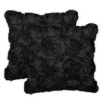 "Piccocasa 2-Piece Faux Silk Throw Pillow Cover-3D Rose Flower -16"" x 16""Black"
