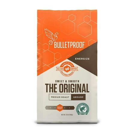 Bulletproof The Original Ground Coffee, Premium Medium Roast Gourmet Organic Beans, Rainforest Alliance Certified, Perfect for Keto Diet, Upgraded Clean Coffee (12 Ounces) Dry Organic Coffee