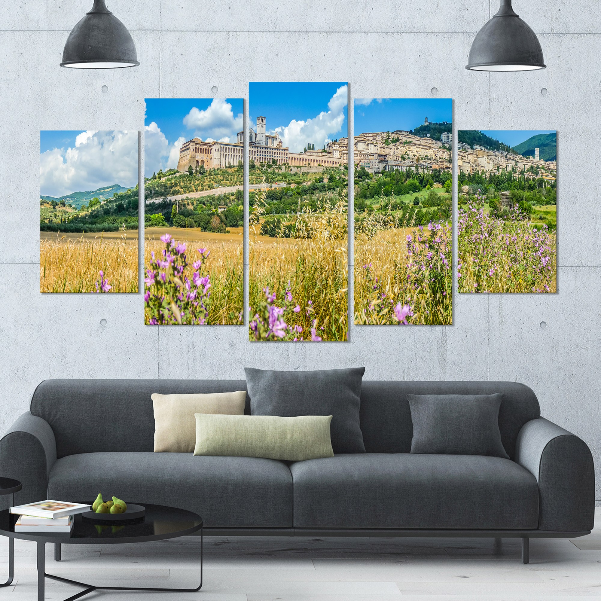 DESIGN ART Designart 'Ancient Town of Assisi Panorama' Landscape Wall Artwork on Canvas - 60x32 5 Panels - Multi-color