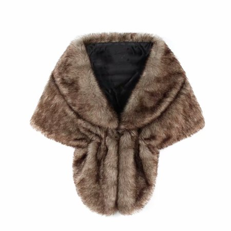 Clearance!Bridal fur lapel shawl butterfly-shaped shawl faux fur brown rabbit fur with coat