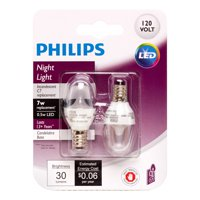 Philips LED Nightligh Light Bulb, C7, Clear Soft White, 7 WE, 2 CT