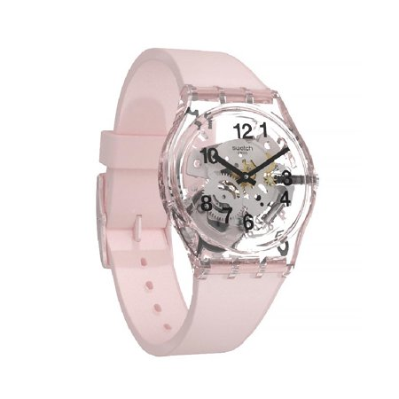 Swatch Pink Board Dial Silicone Strap Ladies Watch GP158 (gold watches for women swatch)