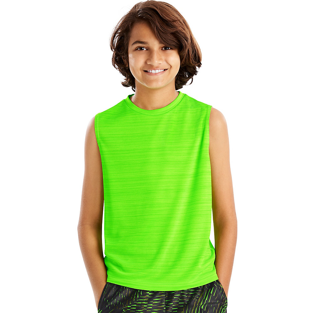 Hanes Boys Big Sport Heathered Performance Tee /& Mesh Short Set