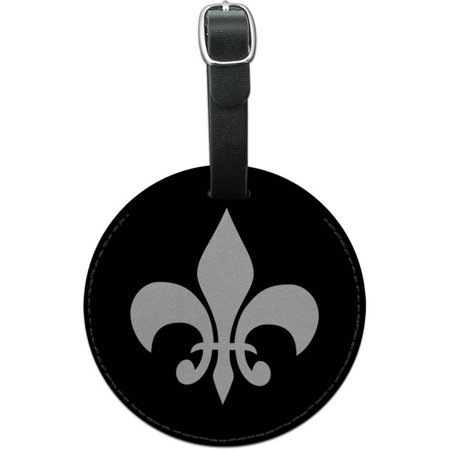 Fleur De Lis Luggage (Graphics and More Fleur de Lis Black Round Leather Luggage ID Tag Suitcase)