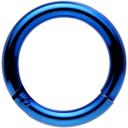 Body Candy Blue Anodized Stainless Steel Hinged Segment Ring Circular Barbell 14 Gauge 5/16