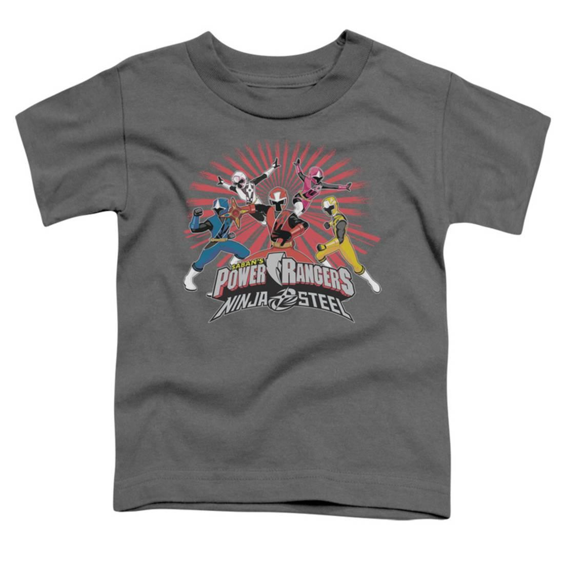 Toddler: Power Rangers: Ninja Steel- Team Action Apparel Baby T-Shirt - Grey