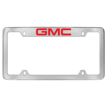 GMC Red Logo Chrome Plated Metal Top Engraved License Plate Frame Holder