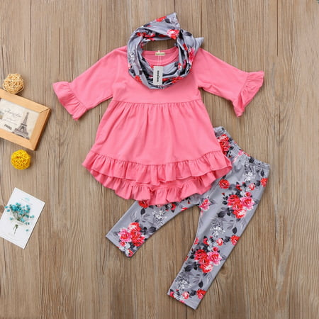 Pretty Toddler Kids Baby Girls Clothes Long Sleeve T-shirt Top+Leggings Outfits