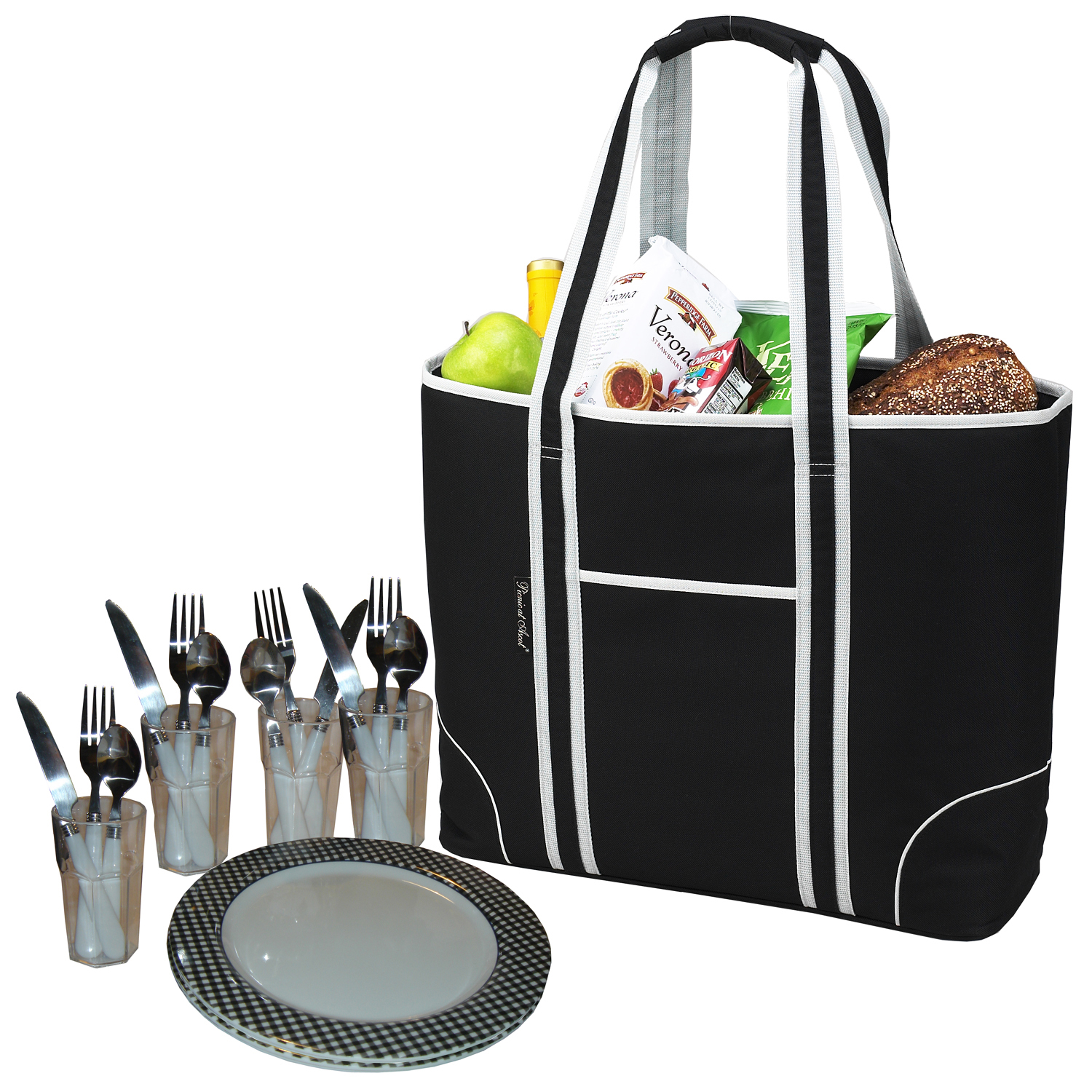 Picnic at Ascot Classic Insulated Picnic Tote for 4 (424-BLK)