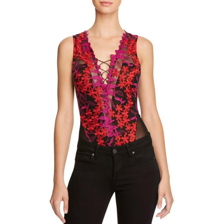 74afa10ab839 Guess - Guess Womens Lace Up Embroidered Floral Bodysuit Black S -  Walmart.com