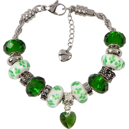 Girls Emerald Green - HEALTH CHARM BRACELET for Women & Girls, Steel Rope Chain and Emerald Green Hearts and Flowers May Birthstone Charms, 7 Inch