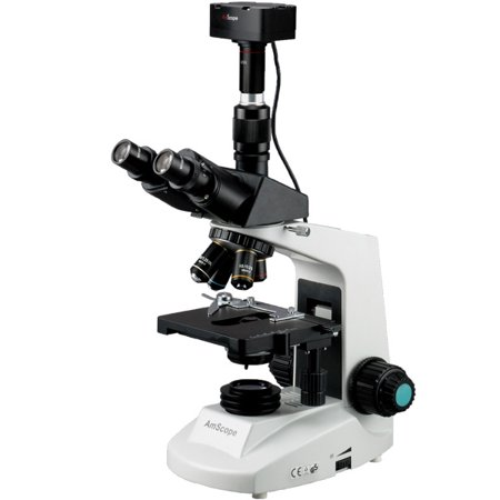 AmScope 40X-2000X Simul-Focal Biological Microscope + 10 MP Camera Win7 & Mac