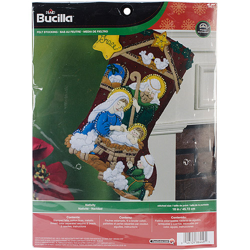 "Nativity Stocking Felt Applique Kit, 18"" Long"