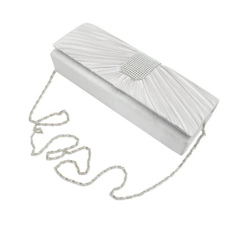 Elegant Classic Pleated Satin Flap Rhinestones Clutch Evening (Silver Jeweled Handbag)