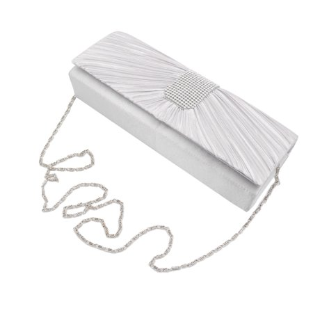 Elegant Classic Pleated Satin Flap Rhinestones Clutch Evening - Canvas Flap Bag