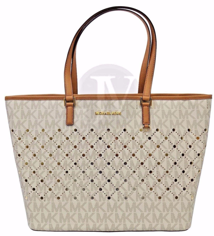 dd1c2aec4371 ... clearance new michael kors jet set violet vanilla large carryall tote  handbag purse d006f 62679