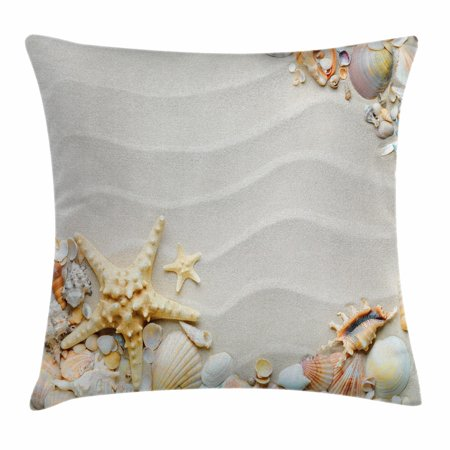 Starfish Decor Throw Pillow Cushion Cover, Seacoast with Sand Colorful Various Seashells Tropics Aquatic Wildlife Theme, Decorative Square Accent Pillow Case, 20 X 20 Inches, Multicolor, by - Decorative Seashell